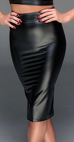 Noir Handmade Clubwear Powerwetlook Rock, schwarz Partykleidung Größe XL - 4