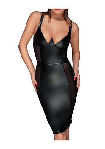 Noir Handmade Damen Tüll-Minikleid aus Powerwetlook M - 1