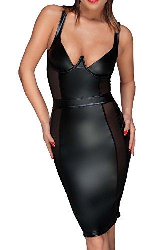 Noir Handmade Damen Tüll-Minikleid aus Powerwetlook M - 3