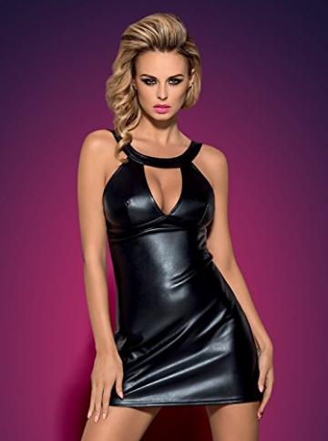 Obsessive verführerisches Dessous-Set aus niedlichem Wet-Look Kleid und String, schwarz, Gr. S/M - 3