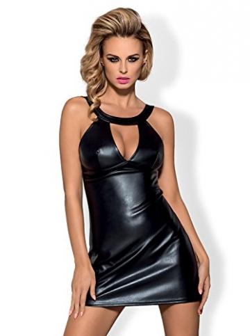 Obsessive verführerisches Dessous-Set aus niedlichem Wet-Look Kleid und String, schwarz, Gr. S/M - 1