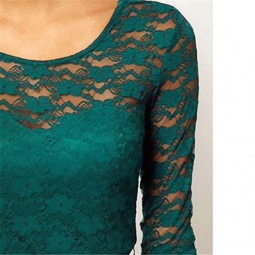 OFTEN& reg; Damen Mädchen 3/4 ärmel Spitze Kleid Sommer Kurzkleid Cocktailkleid mit Gürtel 4 Farben 3 Größ(S,Rot) - 3