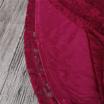 Often® Sexy Loeffel Kragen 3/4 aermel Spitze Kurzkleid mit Guertel einbeziehen 4 FARBEN 3 GRoeSSE, Gr. M, Rot -