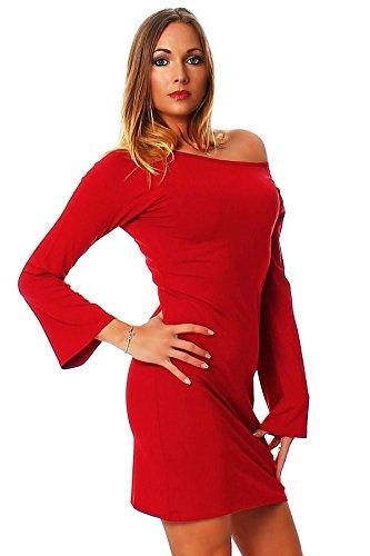 Oks Mississhop Damen Kleid Minikleid Tunika schulterfrei abgefackelte Ärmeln Rot S - 2