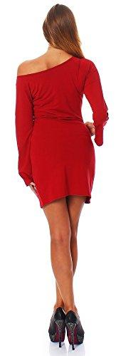 Oks Mississhop Damen Kleid Minikleid Tunika schulterfrei abgefackelte Ärmeln Rot S - 3