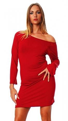 Oks Mississhop Damen Kleid Minikleid Tunika schulterfrei abgefackelte Ärmeln Rot S - 1