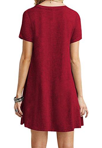 OMZIN Damen Sommerkleid Lockeres Shirtkleid Basic Longshirt Rund Ausschnitt T-Shirtkleid,Rot,S - 2