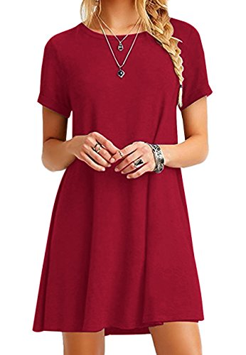 OMZIN Damen Sommerkleid Lockeres Shirtkleid Basic Longshirt Rund Ausschnitt T-Shirtkleid,Rot,S - 1