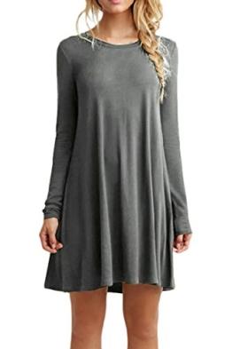 OMZIN Frauen Casual Sommer Lange Ärmel Stretchy T-Shirt Kleid Grau L - 1