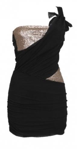 One-Shoulder-Minikleid Kleid Spitze Gr. 34 36 Schwarz #3921-1 - 1