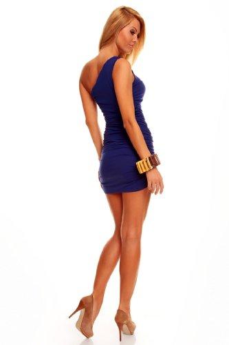 One Shoulder Minikleid Longtop Shirt Strandkleid Sommerkleid Freizeitkleid Dunkelblau - 3