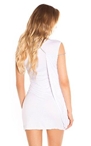 One-Shoulder Minikleid Longtop mit Seitlicher Schleppe und Ketten-Träger One Size (Einheitsgröße) - 4