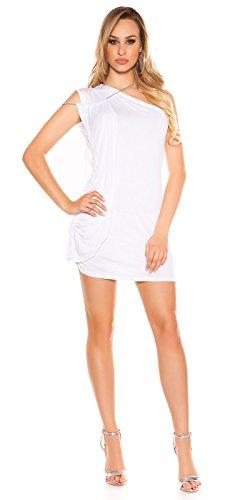 One-Shoulder Minikleid Longtop mit Seitlicher Schleppe und Ketten-Träger One Size (Einheitsgröße) - 5