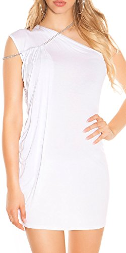One-Shoulder Minikleid Longtop mit Seitlicher Schleppe und Ketten-Träger One Size (Einheitsgröße) - 1