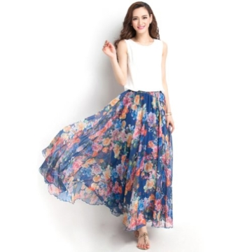 Oneworld Damen Frauen lang Chiffon Bohemien Bodenlang Maxi Rock Strandkleider Kleider Frühling Sommer dunkel Blau 95cm - 3