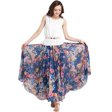 Oneworld Damen Frauen lang Chiffon Bohemien Bodenlang Maxi Rock Strandkleider Kleider Frühling Sommer dunkel Blau 95cm - 4