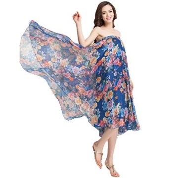 Oneworld Damen Frauen lang Chiffon Bohemien Bodenlang Maxi Rock Strandkleider Kleider Frühling Sommer dunkel Blau 95cm - 6