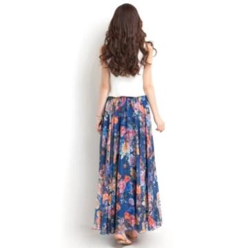 Oneworld Damen Frauen lang Chiffon Bohemien Bodenlang Maxi Rock Strandkleider Kleider Frühling Sommer dunkel Blau 95cm - 7