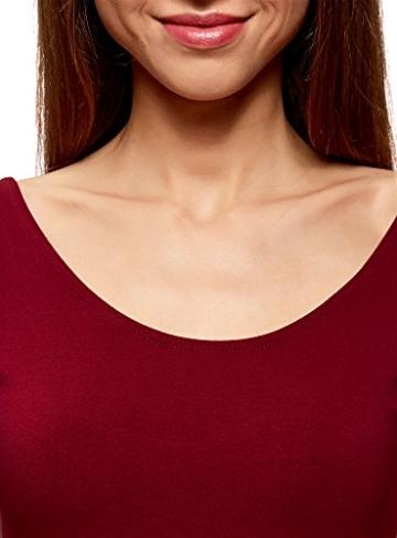 oodji Collection Damen Enges Kleid mit Tiefem Ausschnitt am Rücken, Rot, DE 40 / EU 42 / L - 3