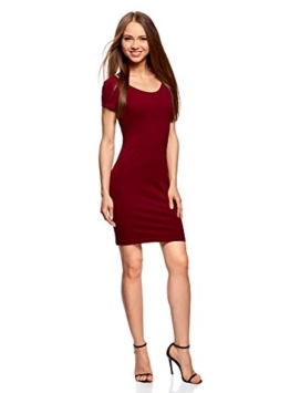 oodji Collection Damen Enges Kleid mit Tiefem Ausschnitt am Rücken, Rot, DE 40 / EU 42 / L - 1
