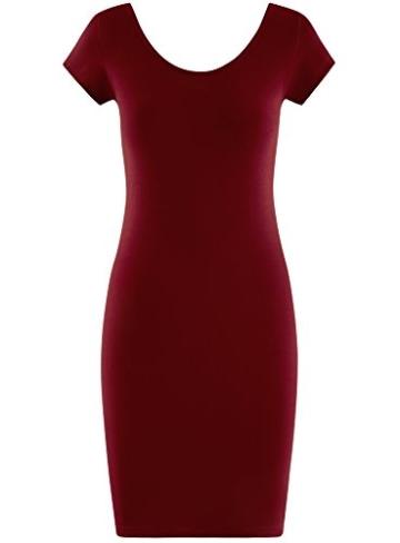 oodji Collection Damen Enges Kleid mit Tiefem Ausschnitt am Rücken, Rot, DE 40 / EU 42 / L - 6