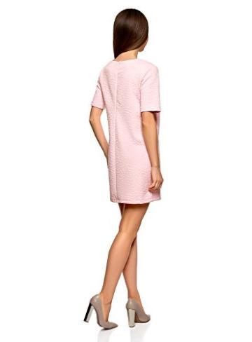 oodji Collection Damen Gerades Kleid aus Strukturiertem Stoff, Rosa, DE 38 / EU 40 / M - 2