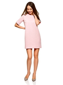 oodji Collection Damen Gerades Kleid aus Strukturiertem Stoff, Rosa, DE 38 / EU 40 / M - 1