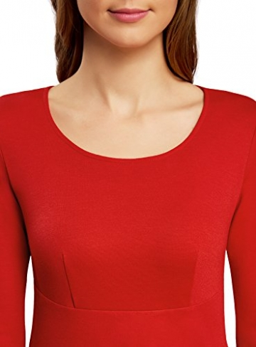 oodji Collection Damen Jerseykleid mit 3/4 Arm, Rot, DE 40 / EU 42 / L -