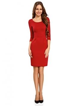 oodji Collection Damen Jerseykleid mit 3/4 Arm, Rot, DE 40 / EU 42 / L -