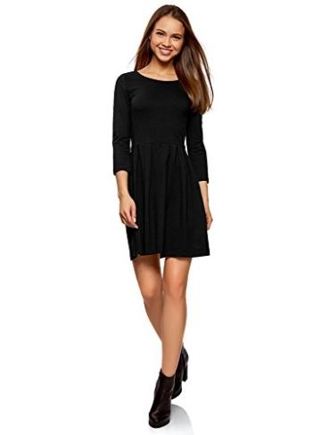 oodji tailliertes Kleid mit ausgestelltem Rock im Casual Look Schwarz 1
