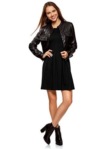 oodji tailliertes Kleid mit ausgestelltem Rock im Casual Look Schwarz 3