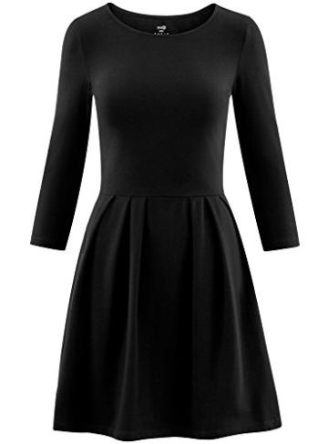 oodji tailliertes Kleid mit ausgestelltem Rock im Casual Look Schwarz 4