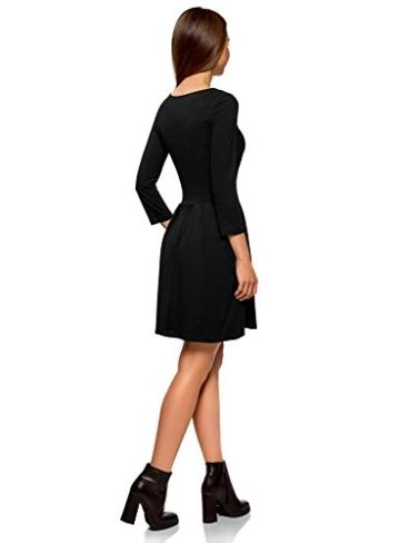 oodji tailliertes Kleid mit ausgestelltem Rock im Casual Look Schwarz 6