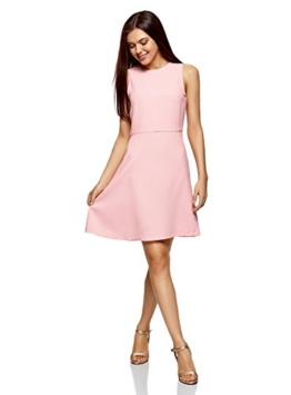 oodji Ultra Damen Ärmelloses Kleid mit Ausgestelltem Rock, Rosa, DE 40 / EU 42 / L - 1