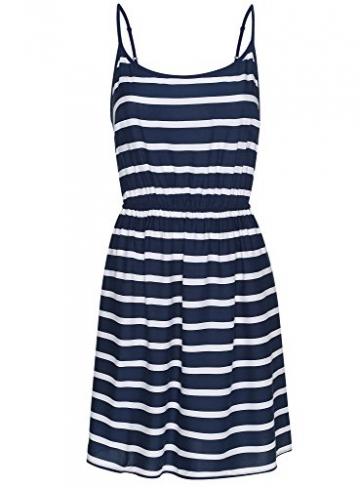 oodji Ultra Damen Druck-Sommerkleid aus Viskose, Blau, DE 36 / EU 38 / S -