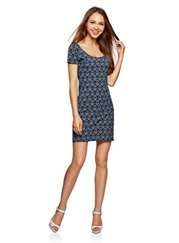 oodji Ultra Damen Enges Jersey-Kleid, Blau, DE 38 / EU 40 / M - 1