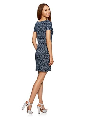 oodji Ultra Damen Enges Jersey-Kleid, Blau, DE 38 / EU 40 / M - 2