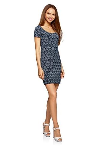 oodji Ultra Damen Enges Jersey-Kleid, Blau, DE 38 / EU 40 / M - 5