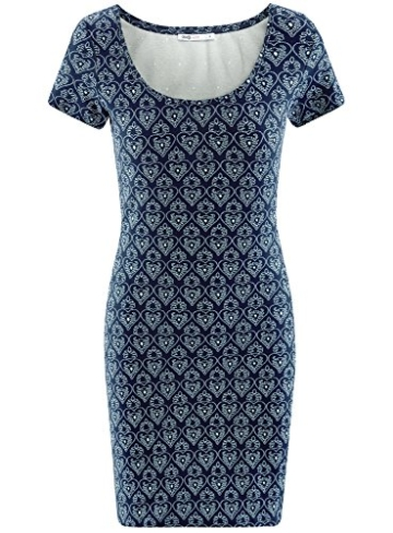 oodji Ultra Damen Enges Jersey-Kleid, Blau, DE 38 / EU 40 / M - 6