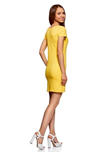 oodji Ultra Damen Enges Jersey-Kleid, Gelb, DE 38 / EU 40 / M - 2