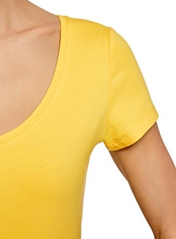 oodji Ultra Damen Enges Jersey-Kleid, Gelb, DE 38 / EU 40 / M - 4