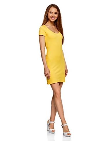 oodji Ultra Damen Enges Jersey-Kleid, Gelb, DE 38 / EU 40 / M - 5