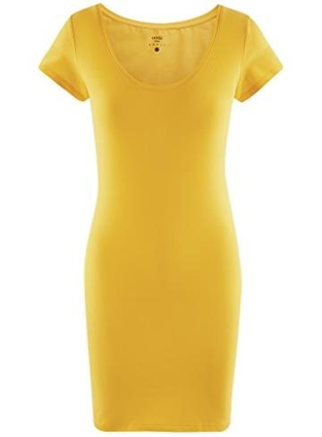 oodji Ultra Damen Enges Jersey-Kleid, Gelb, DE 38 / EU 40 / M - 6