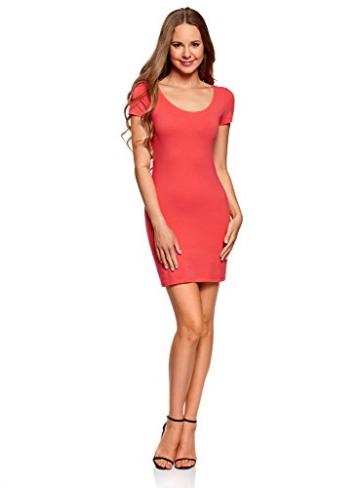 oodji Ultra Damen Enges Jersey-Kleid, Rosa, DE 32 / EU 34 / XXS - 1