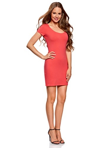 oodji Ultra Damen Enges Jersey-Kleid, Rosa, DE 32 / EU 34 / XXS - 5