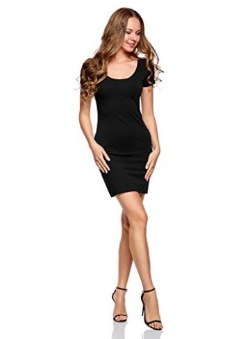oodji Ultra Damen Enges Jersey-Kleid, Schwarz, DE 44 / EU 46 / XXL - 5