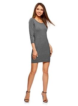 oodji Ultra Damen Enges Kleid mit Tropfen-Ausschnitt am Rücken, Grau, DE 36 / EU 38 / S - 1
