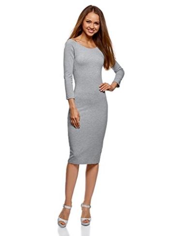 oodji Ultra Damen Enges Kleid mit U-Boot-Ausschnitt, Grau, DE 40 / EU 42 / L - 1