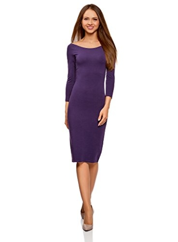 Rabatt bis zu 60% verschiedenes Design noch nicht vulgär Schlichtes Kleid, knielang, mit U-Boot-Ausschnitt, Violett