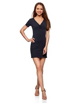 oodji Ultra Damen Enges Kleid mit V-Ausschnitt, Blau, DE 36 / EU 38 / S - 1